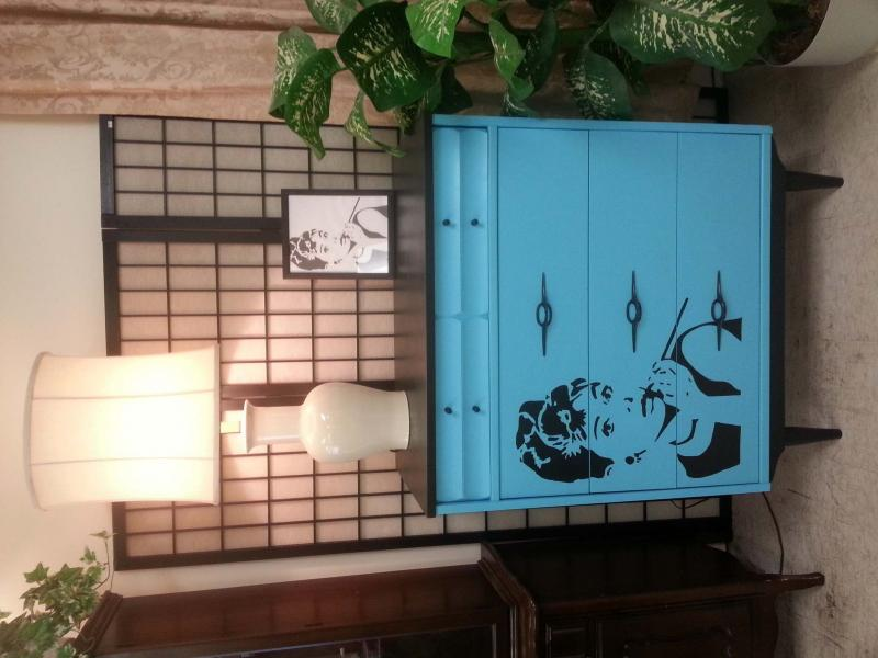 <p>Volunteer Betty Newnham transforms many furniture pieces into works of art. Check out this dresser featuring an image of Audrey Hepburn. </p></p>