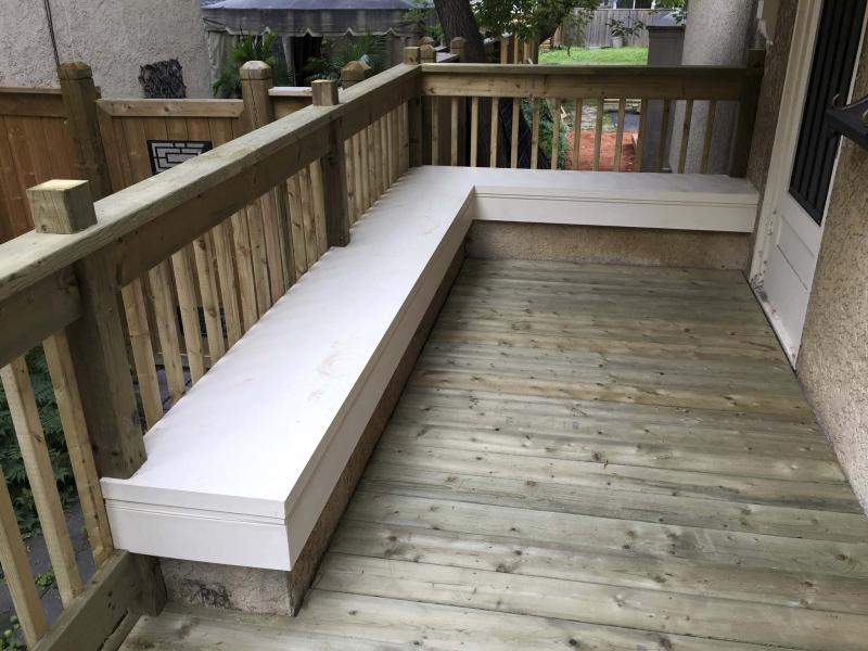 <p>Photos by Marc LaBossiere / Winnipeg Free Press</p><p>Rena's new porch. Note the top of the old stucco wall, which now serves as a bench top on the new porch, with the porch railing acting as the bench back.</p>