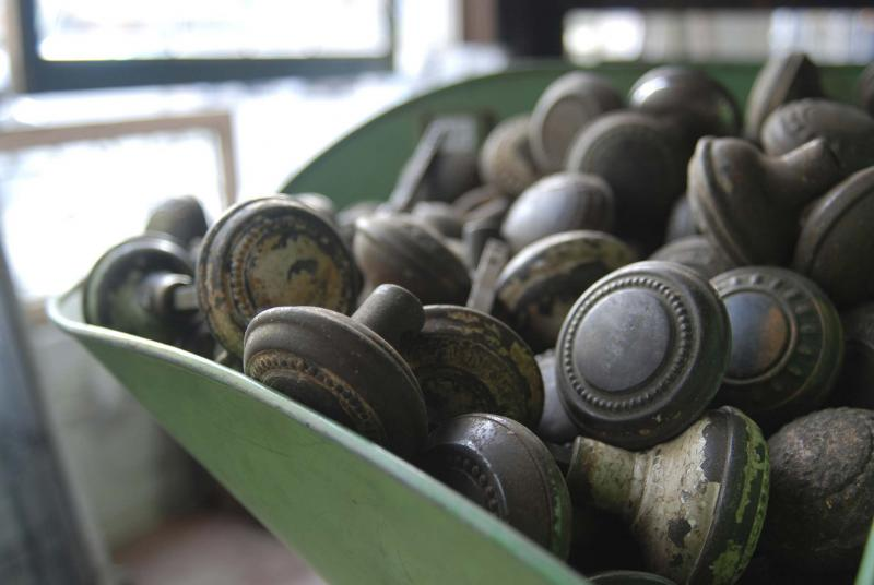 <p>GRAHAM HELLEWELL / FLICKR</p><p>You can always retrofit a new home's levers with vintage doorknobs.</p>