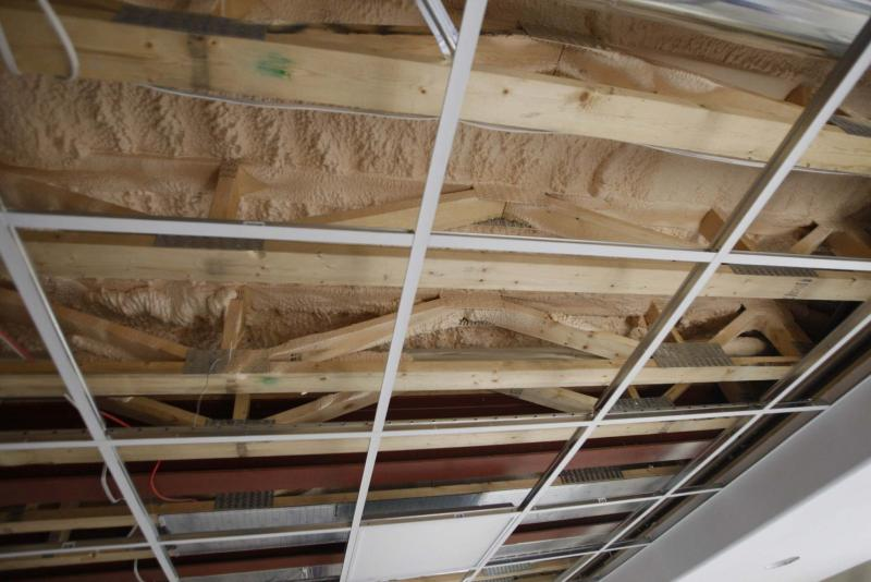 <p>BORIS MINKEVICH / WINNIPEG FREE PRESS </p><p>Thermal insulation blown into the joists of a basement will help control moisture-related issues. </p></p>