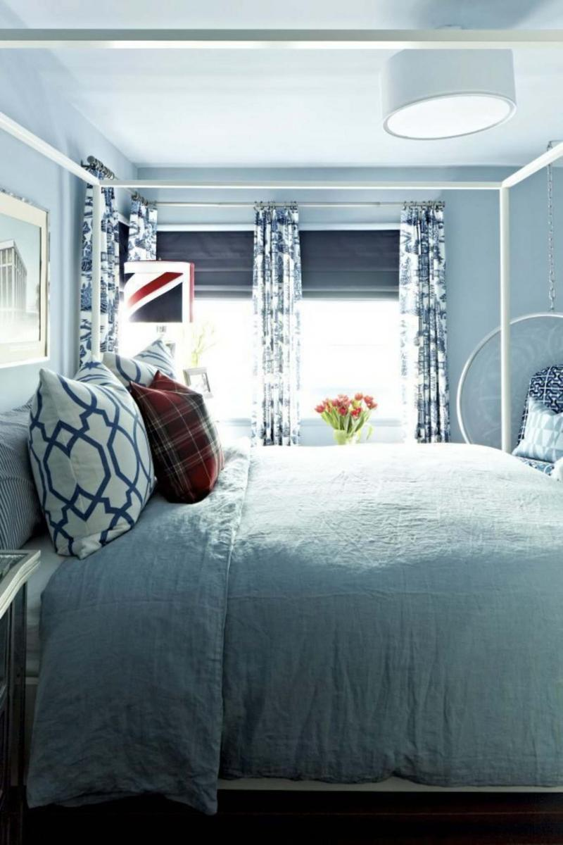 <p>Brian Patrick Flynn / The Associated Press</p><p>This bedroom designed with a blue-grey paint color called Drenched Rain from Dunn-Edwards brings a cool feel perfect for the long, hot summer.</p>