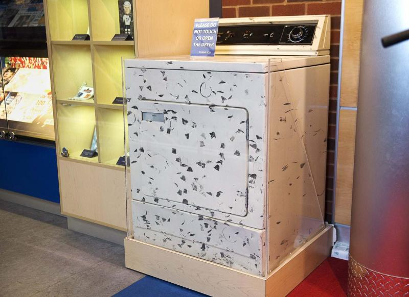 <p>Andrew Vaughan / THE CANADIAN PRESS</p><p>Black marks on clothes fresh from the dryer could mean new drum rollers are needed. Or it could mean Sidney Crosby has been shooting pucks at the appliance, as he did at this dryer from his family home, now on display at the Nova Scotia Sport Hall of Fame in Halifax.</p></p>