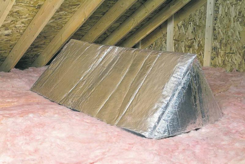 Owens Corning�s Attic Stairway Insulator is a tent made from insulating material and reflective foil that covers the stairway opening. Uninsulated attic hatches are a common spot where heated air escapes into an attic. (Owens Corning/MCT)