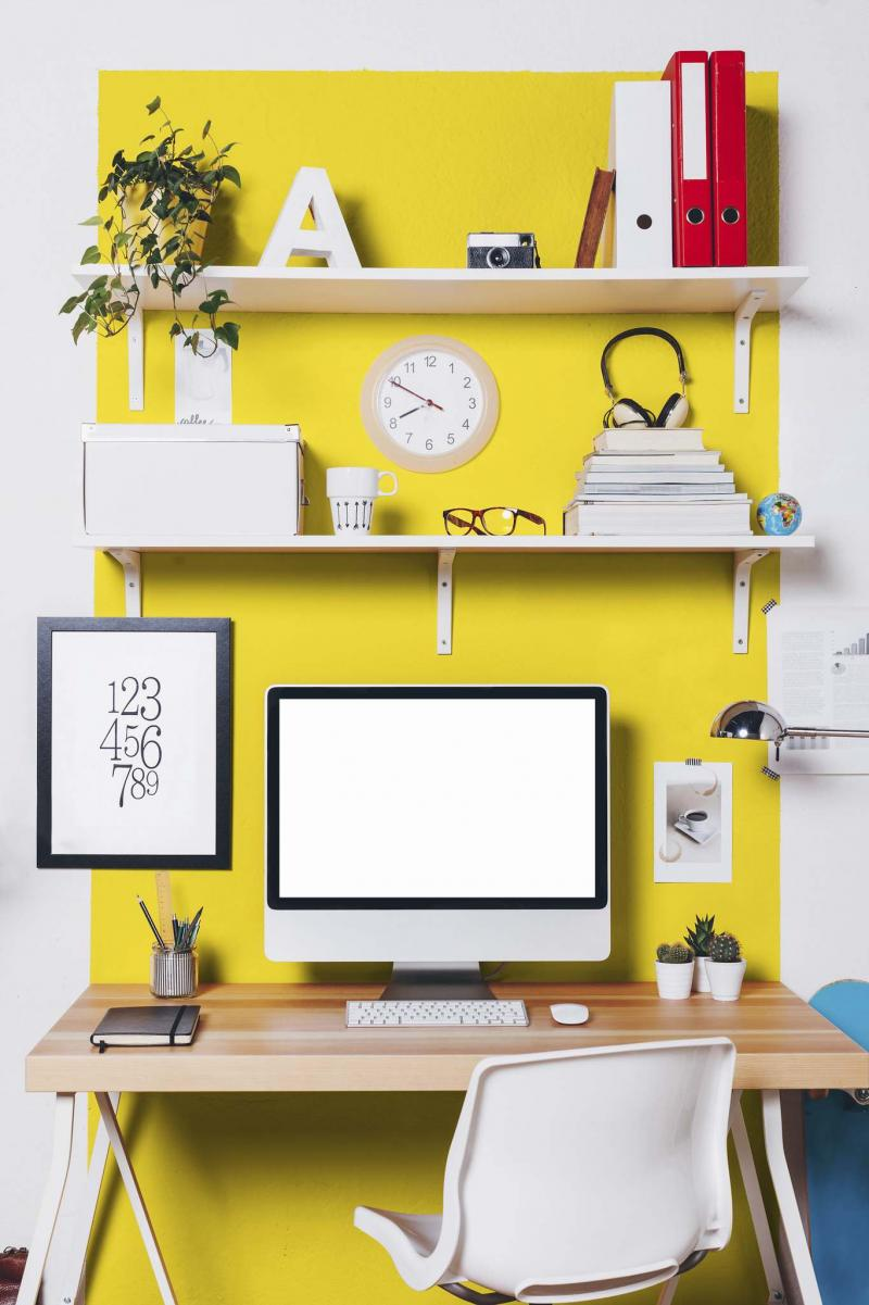 <p>SICO</p></p><p>Cheerful yellow, such as Citrus by SICO paint, is a good colour choice for a home office if you're seeking stimulation, motivation or creativity.</p>