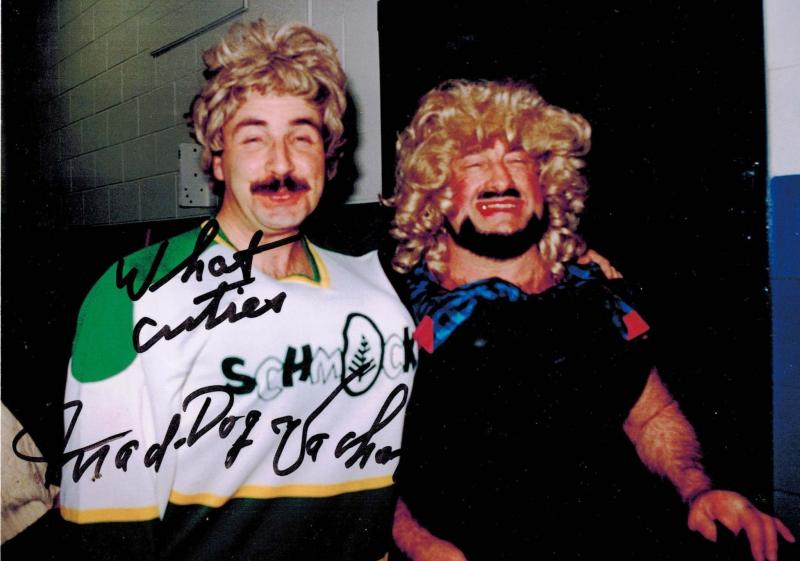 <p>Laurie Mustard (left) and Mad Dog Vachon share a goofy moment before Schmockey Night in Winnipeg, a fundraising event pitting members of the media against members of the Blue Bombers.</p></p>