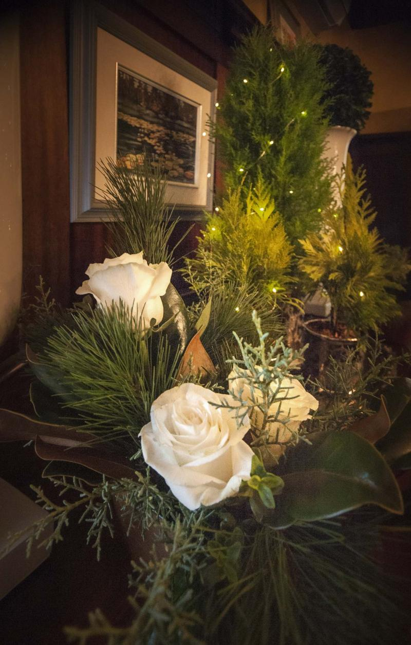 <p>James Kerr photo</p><p>Cream-coloured roses mix well with blue-green Carolina Sapphire in this display, a motif drawn on throughout the home. </p>