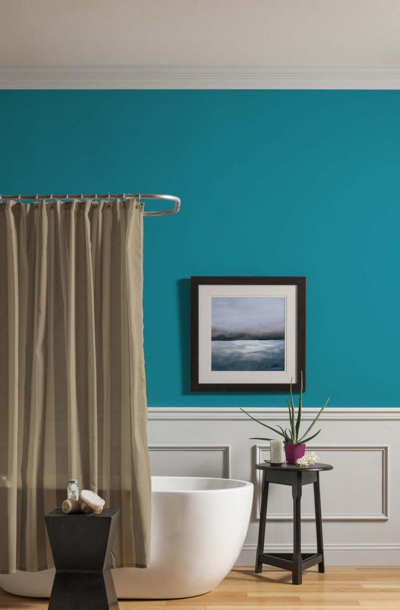 <p>Courtesy of CIL Paints</p><p>Natural brights, such as Peacock's Plume teal by CIL paint, deliver a tranquil feel to a living space.</p>