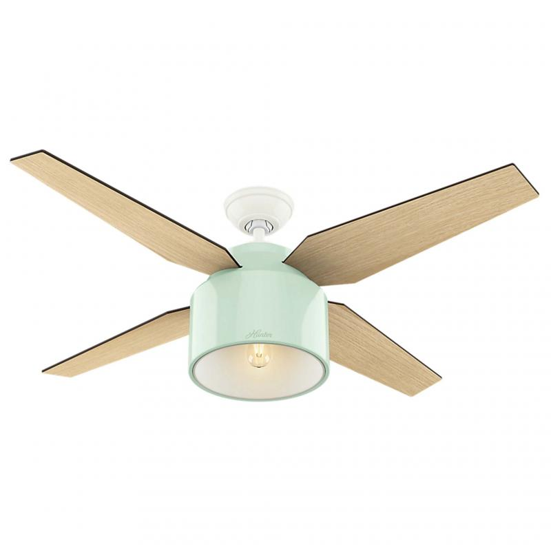 <p>HUNTER</p><p>The Cranbook 52-inch ceiling fan by Hunter, in a mint finish ($229,hunterfan.com). </p>