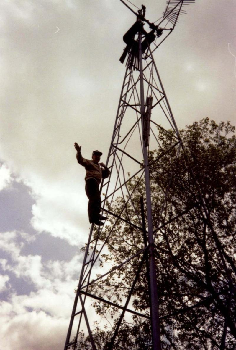 <p>Supplied photos</p><p>My dad, in his 80s, halfway up a wobbly old windmill.</p>