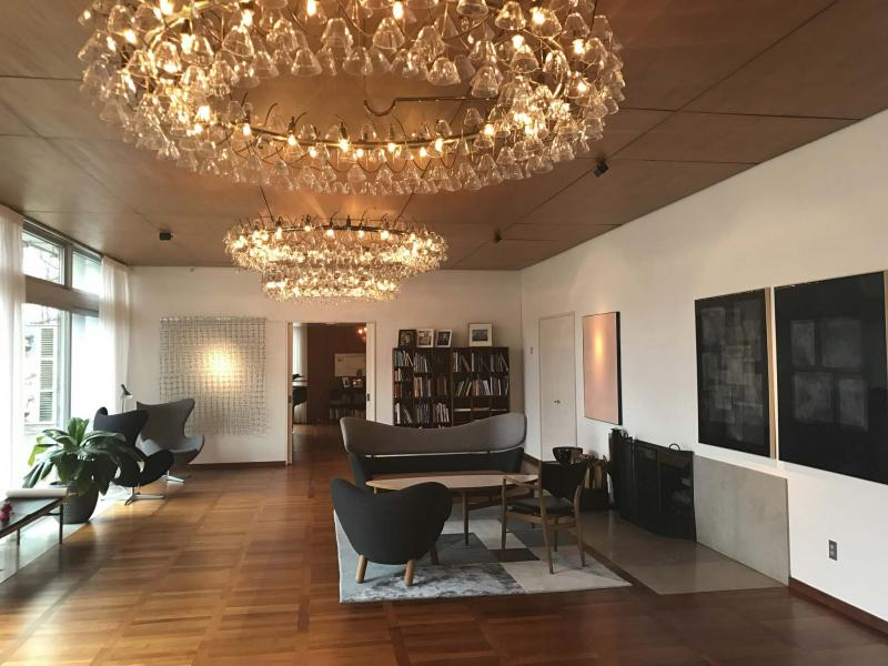 <p>Pernille Florin Elbech / Danish Embassy</p>In the spirit of hygge, the Danish Embassy residence's (above) living room features warm but playful lighting.</p>