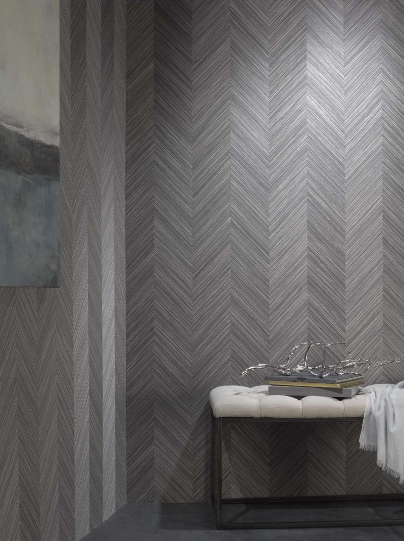 <p>Inspired by parquet flooring, Phillip Jeffries' Against the Grain wallcoverings are made of four strains of wood veneers. Rare Cane, above, is among seven color varieties. MUST CREDIT: Phillip Jeffries.</p></p></p>