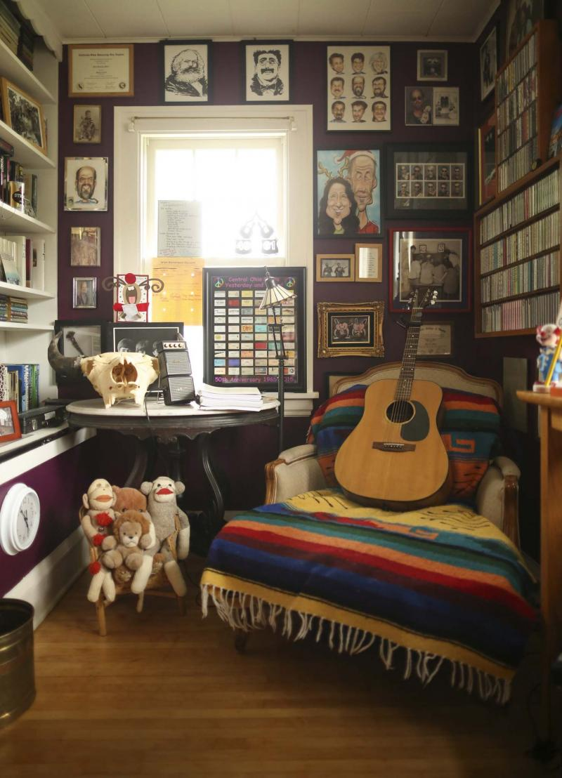 <p>Jeff Wheeler / Minneaplis Star Tribune</p><p>A comfy chair for listening or playing music in Mark Milner's music room. </p>