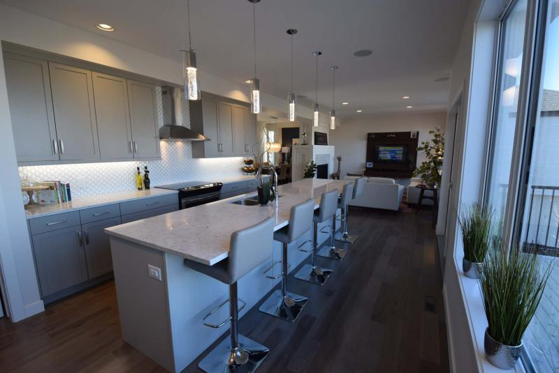 <p>The Berkeley's kitchen features a 12-foot-long island with seating for five.</p>