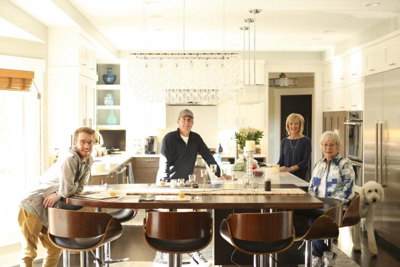 <p>The current residents of the Nelson home in Bloomington, Minn., are, from left, eldest son, Quinn, 24, Reed, Joan, and Joan's mother, Jan McCabe, who moved into a garden apartment that was part of their whole-house remodel last year.</p></p>