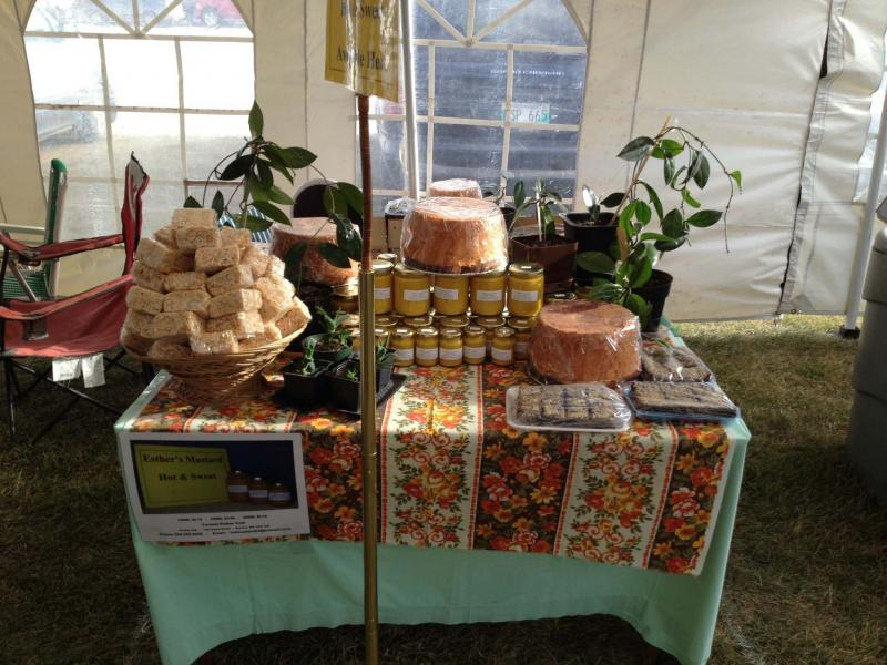 <p>Esther's farmers' market display. </p>