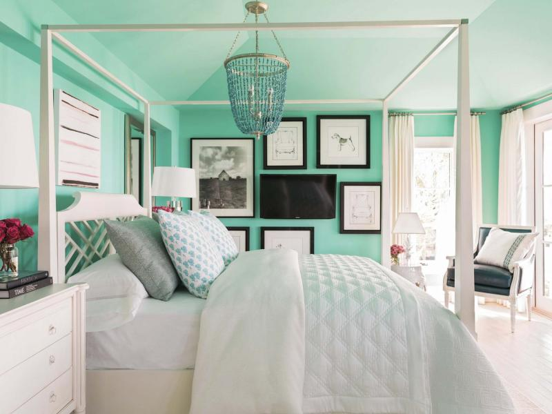 <p>The Associated Press / HGTV</p></p><p>This bedroom has a television creatively mounted on the wall that keeps it from standing out too much or detracting from the design of the rest of the room. </p>