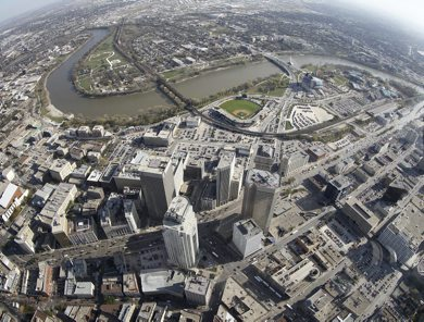 Aerial view of Portage and Main, The Esplanade Riel, Provencher Bridge over the Red River, The Canadian Museum for Human Rights and The Forks near the Assiniboine River, October 21st, 2011. (TREVOR HAGAN/WINNIPEG FREE PRESS) CMHR