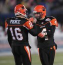 JOE BRYKSA / WINNIPEG FREE PRESS  BC Lions QB Buck Pierce congratulates kicker Paul McCallum after his field goal taking the score to 25-12 for the Lions during 4th quarter action of the 94th 2006 Grey Cup game at Canad Inns Stadium Sunday evening, Nov. 19, in Winnipeg. 061119  GREYCUP2006 SPORTS