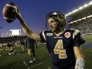 Bombers' QB, Buck Pierce salutes the crowd at Canad Inns Stadium after leading the team to a victory over the Eskimos. (TREVOR HAGAN/WINNIPEG FREE PRESS)