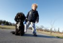 October 28, 2011 - 111028  -  Four year old Ami Banks is photographed with his dog Mia who was allegedly attacked by another dog at Assiniboine Park Friday, October 28 2011. JOHN WOODS / WINNIPEG FREE PRESS