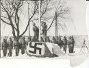 Winnipeg Free Press Archives Feb. 19, 1942 If Day - World War II - (18) Nazi Storm Troopers Demonstrate Invasion Tactics  Within the walls of Lower Fort Garry the Germans haul down the Union Jack ready to hoist the swastika flag in its place.  fparchive