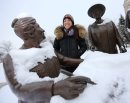 Winnipeg Free Press reporter, Gabrielle Giroday, at the Nellie McClung statue on the west side of the Manitoba Legislative Grounds, Saturday, December 22, 2012. (TREVOR HAGAN/WINNIPEG FREE PRESS) - our winnipeg sunday xtra