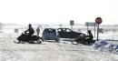 Snowmobilers pull into the 59er on Highway 59, Saturday, December 29, 2012. (TREVOR HAGAN/WINNIPEG FREE PRESS)