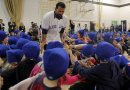 Ecole Van Walleghem School in Linden Woods were visited Toronto Blue Jays slugger Jose Bautista this morning. The Blue Jays' winter caravan picked the school at random. Jose Bautista , in photo, and two other players spent an hour in the gym. January 7, 2013  BORIS MINKEVICH / WINNIPEG FREE PRESS