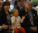 Canad Inns Pres. CEO Leo Ledohowski , with grandson Spencer age 2 clapping enthusiastically , his daughter Lea Ledohowski at opening-   Canad Inns Destination Centre Health Science Centre officially opens , it is connected to HSC and offers 191 rooms banquet room and conference centre , restaurants  ans a Starbucks  KEN GIGLIOTTI / April . 29 2013 / WINNIPEG FREE PRESS