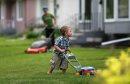 Ethan Hayden, 2, helps his mom, Jamie, with some yard work in East Fort Garry, early Sunday, June 9, 2013. (TREVOR HAGAN/WINNIPEG FREE PRESS)