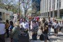 140523 Winnipeg - DAVID LIPNOWSKI / WINNIPEG FREE PRESS (May 23, 2014)  There were long lineups at the food trucks and hotdog carts over the lunch hour no an unseasonably warm Friday afternoon.