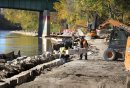The River walk along the Assiniboine undergoes some reinforcements after a summer of high water caused damage to the shoreline and walkway. Pedestrians enjoy walking in the open portions on it Saturday in beautiful sunny weather.    Standup photo Oct 11,  2014 Ruth Bonneville / Winnipeg Free Press