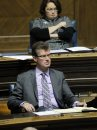 Question Period at the Manitoba Legislature. Andrew Swan looks very serious as he concentrates on every word Manitoba Premier Greg Selinger speaks in the house. BORIS MINKEVICH / WINNIPEG FREE PRESS November 21, 2014