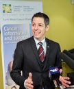 Winnipeg Mayor Brian Bowman during the announcement that the money raised during this years WPS Half Marathon will go towards Canadian Cancer Society Manitoba and that the money will be matched dollar-for-dollar by Brain Canada, through the Canada Brain Research Fund.  150217 February 17, 2015 Mike Deal / Winnipeg Free Press