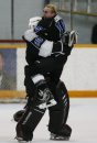 March 16, 2015 - 150316  -  Oak Park Raiders Conor Dowdell (16) and Nick Lewis (30) celebrate a win over the St Paul's Crusaders in the AAAA High School Hockey Championship game at St James Civic Centre  Monday, March 16, 2015. John Woods / Winnipeg Free Press
