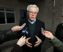 Premier Greg Selinger speaks at a scrum in front of St Benedict's Monastery north of Winnipeg Thursday afternoon where the Party held a day long retreat to heal rifts. See Bruce Owen story. April 9, 2015 - (Phil Hossack / Winnipeg Free Press)