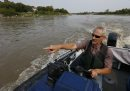 Ken Schultz takes his boat on the Red River north of the St. Andrews Lock and Dam in Lockport Mb.searching for American White Pelicans tangled with fishing line.   Ashley Prest story Wayne Glowacki / Winnipeg Free Press August 28  2015