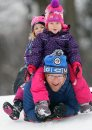 Mike Luczak, with his daughter Elise, top-front, and Julia enjoy a wonderful day Tuesday sledding at Kildonan Park during their Christmas break– Standup Photo–Dec 22, 2015 (JOE BRYKSA / WINNIPEG FREE PRESS)