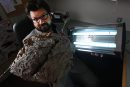 Clint Rosevear- Area Manager for Orkin Canada with fly light and large wasp nest found in Manitoba-See Gordon Sinclair story- Feb 03, 2016   (JOE BRYKSA / WINNIPEG FREE PRESS)