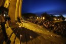 JOHN WOODS / WINNIPEG FREE PRESS People participate in a vigil as the names of the Orlando shooting victims  line the steps of the Manitoba Legislature Monday, June 13, 2016.