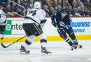MIKE DEAL / WINNIPEG FREE PRESS Winnipeg Jets' Ben Chiarot (7) takes the puck out of the Jets end and into Los Angeles Kings territory during an afternoon NHL game at MTS Centre Sunday. 161113 - Sunday November 13, 2016