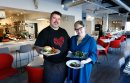 WAYNE GLOWACKI / WINNIPEG FREE PRESS  Restaurant Review. Chef Alexander Svenne holds a Burger with Tomato Jam and Bone Marrow Butter beside co-owner (wife) Danielle Carignan Svenne holding Duck Livers with fig and port and a dish of Grilled  Rapini  at the Bouchée Boucher on Tache Ave.  Alison Gillmor story Feb. 14  2017