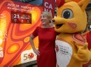 JOE BRYKSA / WINNIPEG FREE PRESS  Federal Heritage Minister Mélanie Joly has some fun with Niibin the Canada games mascot at the Forks Wednesday. The minister and a Canada Games delegation were promoting the upcoming Canada games that will be in Winnipeg July 28- Aug 13 – 23 days from today.    -  July 05 , 2017 -( See Ryan Thorpe story)