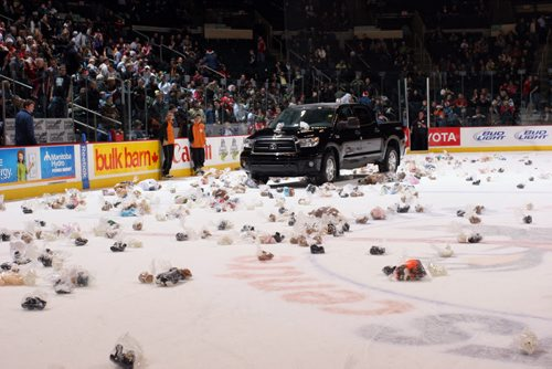 Manitoba Moose Teddy Bear Toss photos attached for the Spirit of Giving article.  winnipeg free press - katie dangerfield story Photo Credits: IMG_1589 – Jonathan Kozub IMG_1604 – Jonathan Kozub IMG_1609 – Jonathan Kozub december 2010