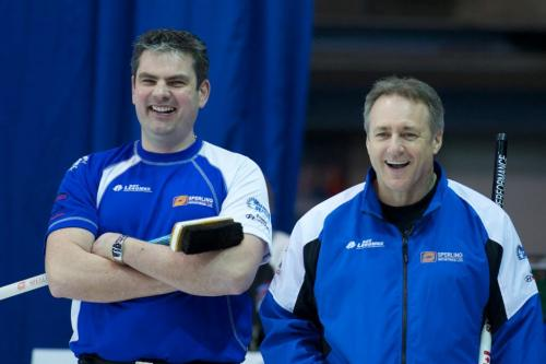 FREE USE PHOTOCAPTION:Brandon's Allan Lyburn (left) and new teammate Pierre Charette of Gatineau, Quebec share a laugh during men's quarterfinal action at the 2011 GP Car and Home Players' Championship at the Crystal Centre in Grande Prairie, Alberta. Charette, the World Curling Tour president, was pressed into service when Brandon skip Rob Fowler fell and dislocated his shoulder in the previous qualifying draw. The makeshift Fowler foursome lost 6-5 to Sweden's Niklas Edin.CREDIT:Anil Mungal / Capital One