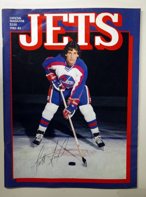 Winnipeg Free Press / University of Manitoba Archives  /  June 22 2011 - in pic  Jets hockey program from 1982-83 season Featuring Scott Arniel  on the cover    -  - Jets  - Photo Book Project - Wpg Winnipeg Jets Hockey Club - NHL National Hockey League return -  ( kgjets brings up all Wpg Jets recovered photos in Merlin new book project pics will have slug newjets ( 147 new photos added June 2011  -  for archive pics put in after june 7 2011) - ***These next Photos slugged newjets2 for photos afterJune 14 20011 )  photos cannot be  published without written permission from the Winnipeg Free Press and credit must include  the Winnipeg Free Press and photographer with each photo - KEN GIGLIOTTI