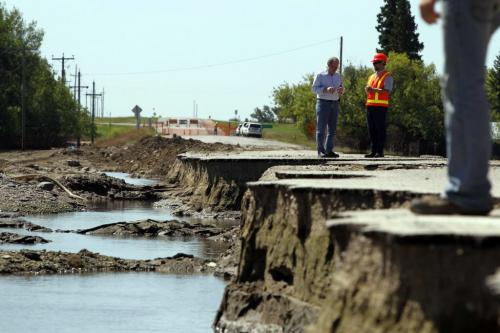 Damage on Highway 21, Hartney, Manitoba, southwest of Souris, Manitoba. - . July 21, 2011 (BORIS MINKEVICH / WINNIPEG FREE PRESS)