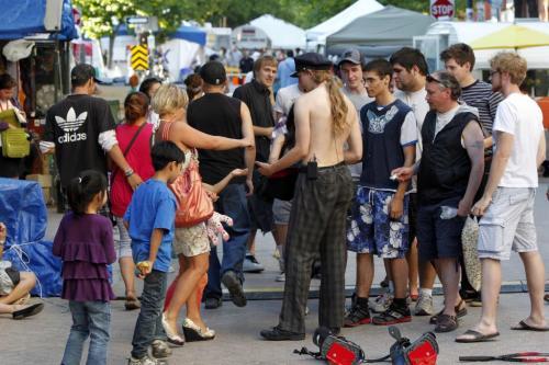 Generic photos of the Fringe Festival around Old Market Square . July 24, 2011 (BORIS MINKEVICH / WINNIPEG FREE PRESS)