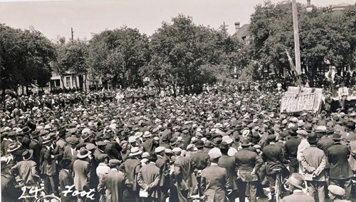 1919 general strike Thousands gather at Victoria Park, just east of City Hall near the banks of the Red River,  the central gathering area for strikers and returning veteran of WW One. Photography by Lewis Benjamin Foote Winnipeg Free Press Lewis Benjamin Foote fparchive