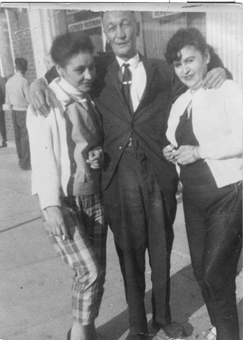Colleen Simard's grandmother Noella Simard (right), on Main Street. winnipeg free press